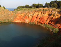 Lake in the abandoned bauxite quarry  Stock Image