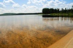 Lake in Abitibi, Québec, Canada. Landscape of a sandy lake in Abitibi stock image