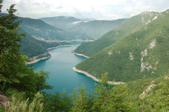 Lake from above. Artificial lake, from increased rivers increased by barrages, Montenegro Stock Image