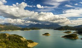 Lake of Acheloos, in Etoloakarnania region, central Greece. Acheloos is a historic river, starring in several folk legends and myths. The lakes that creates royalty free stock photo