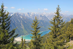 Lake achensee and fir forest, austrian alps Royalty Free Stock Photography