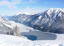 Lake Achensee with mountain backdrop. Lake Achensee in winter with mountain backdrop Stock Images