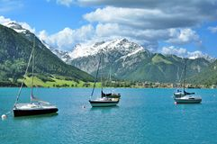 Lake Achensee,Tirol,Austria. View over Lake Achensee in Tirol to Village of Pertisau,Austria Royalty Free Stock Photography