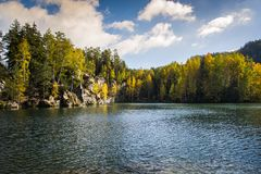 Lake in Adrspach - Teplice Rocks. Autumn Stock Photo