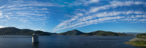 36x12 inch Lake Advancetown panorama Royalty Free Stock Photos