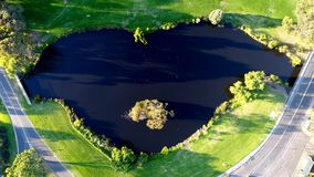 Areal lake view. Lake aerial view during the evening in Australia Stock Photography