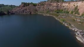 Lake in aerial view stock video