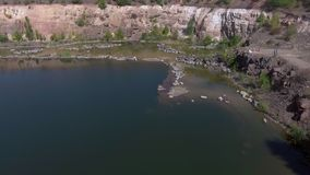 Lake in aerial view stock footage