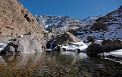 Lake in the African mountains. Lake on the way to the mt Toubkal. Highest mountain in the North Africa. Morocco. High-Atlas Royalty Free Stock Image