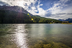 Lake. Against the light Misurina Stock Image