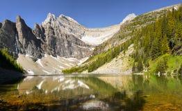 Lake Agnes, Big Beehive Trail, Banff NP. Lake Agnes from the trail to the Big Beehive peak. Banff NP. Canada royalty free stock images