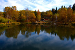 The lake. The air crisp, the lake, house, autumn, and a natural beauty Royalty Free Stock Photo