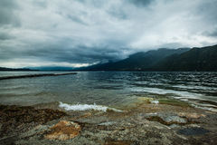 Lake Aix-les-Bain. Lake's water in Aix-les-Bain in cloudy weather Stock Photography