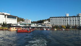 Lake akan boat cruise depot stock footage