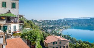 Panoramic view of Albano Lake coast, Rome Province, Latium, central Italy. stock image
