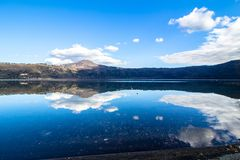 Lake Albano, a volcanic crater lake near Rome, Italy Stock Image