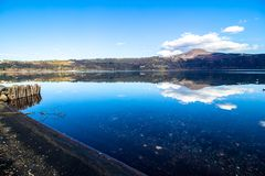 Lake Albano, a volcanic crater lake near Rome, Italy Royalty Free Stock Images