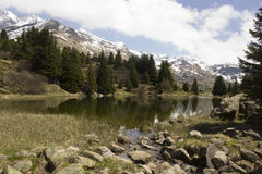 Lake on Alp Flix in Grisons (Switzerland) Royalty Free Stock Photography
