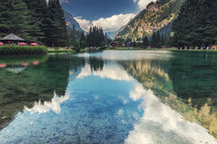 Lake at alp village, Italy Stock Photo