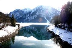 Lake of Alpine, Austria. Winter with best view of lake and mountain. Alpine, Austria Stock Photo