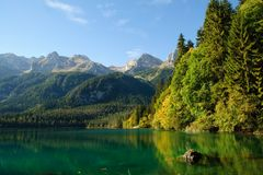 Lake in the Alpine mountains Stock Photo