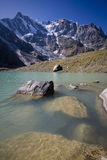 Lake on the alps in front of monte rosa glacier Stock Photography