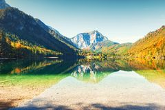 Lake in the Alps mountains in autumn. Vorderer Langbathsee lake in Austria Stock Photos