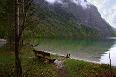 The lake in the Alps stock images