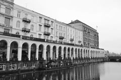 Lake Alster and arcades. In Hamburg, Germany. Black and white Stock Image