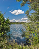 Lake amidst beautiful clouds. Royalty Free Stock Image