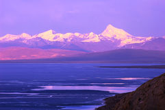 Lake And Snow Mountains In Tibet Stock Photo