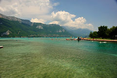 Lake Annecy. Small boat harbour at the lake d'Annecy in the french alps royalty free stock photography