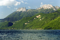 Lake Annecy. View of mountains from Lake Annecy France - landscape orientation Stock Photo