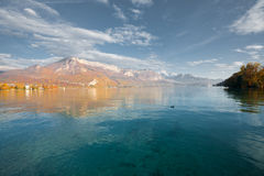 Lake Annecy Alps Autumn Colors H Stock Image