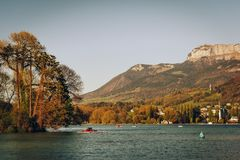 Lake Annecy in early spring. Haute-Savoie, France Stock Photo