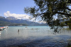 Lake of Annecy and Forclaz mountain, in france Royalty Free Stock Image