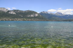 Lake of Annecy and Forclaz mountain, in france Stock Photography