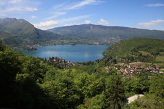 Lake Annecy in the French Alps. Lake Annecy with the village of Talloires royalty free stock photos