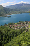 Lake Annecy in the French Alps. Lake Annecy with the village of Talloires royalty free stock photo
