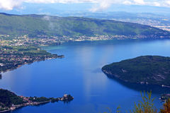 Lake Annecy. Looking down on  Lake Annecy, France Stock Photography