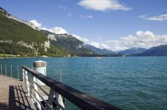 Lake Annecy from marina. View of the lake Annecy from pontoons of marina Stock Photography