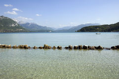 Lake Annecy and mountains Stock Photo