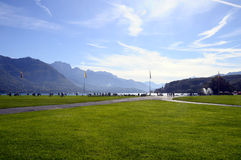 Lake of Annecy and Paquier walkpath, in france Stock Photos