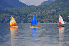 Lake Annecy. Sailing dinghies on Lake Annecy, France Royalty Free Stock Images