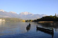 Lake of Annecy and tournette mountain, in france Royalty Free Stock Photography
