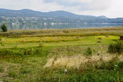 Lake of Annone landscape. Landscape of the lake of Annone the countryside bordering the lake, Annone province of Lecco Italy, September 2013 Royalty Free Stock Image