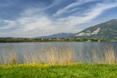 Lake of Annone, Lecco, Italy stock photos