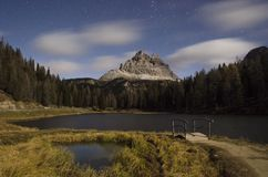 Lake Antorno at night with stars Royalty Free Stock Photography
