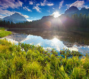 Lake Antorno and Tre Cime of Lavaredo south face in Italy Alps, Royalty Free Stock Image