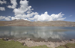 Lake Aparan below mountain Aragac in Armenia Royalty Free Stock Photos